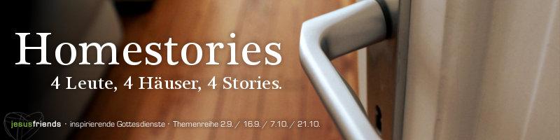 """Predigtreihenbanner """"Homestories – 4 Leute, 4 Häuser, 4 Stories"""". Geöffnete Tür, Sicht auf Türklinke, leichter Blick in ein Wohnzimmer"""