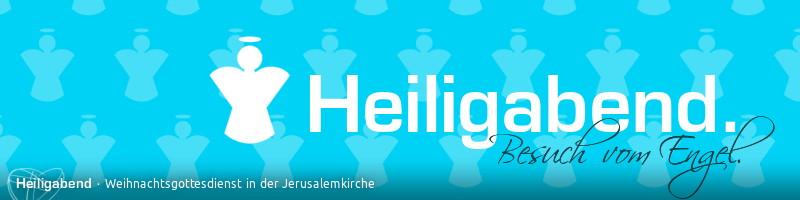 """Banner """"Heiligabend 2013"""": Text: Heiligabend. Besuch vom Engel. Motiv: Stilisierte Engelssilhouette vor knallblauer Engelmustertapete"""