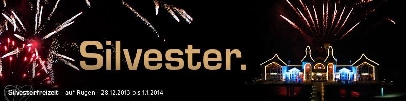"""Banner """"Silvesterfreizeit"""": Text: Silvester. Silvesterfreizeit auf Rügen, 28.12.2013 bis 1.1.2014, Motiv: Silvesterfeuerwerk auf der Seebrücke Sellin"""