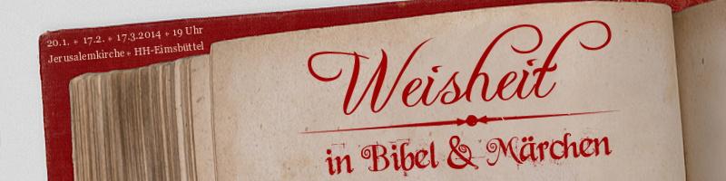 """Webbanner """"Erzählabende 2013: Bibel und Märchen"""": Motiv: Schriftzug in roter Tinte auf alter, aufgeschlagener Buchseite"""
