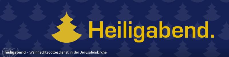 """Webbanner """"Heiligabend 2014"""": goldener Schriftzug """"Heiligabend"""" vor nachtblauem Hintergrund mit einer Tapete aus illustrierten Tannenbäumen"""