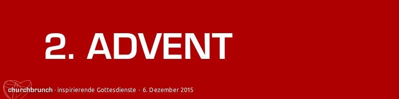 """churchbrunch-Banner """"2. Advent"""". Weiße Schrift auf rotem Farb-Hintergrund"""